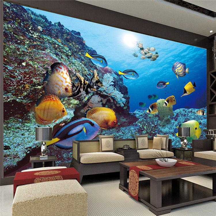3d custom cute tropic fish photo wallpaper sea world wall for Children s mural wallpaper