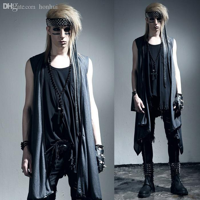 Online Cheap Fall Men Summer Shawl Vest Men Punk Rock Style Cardigan Waistcoat Nightclub