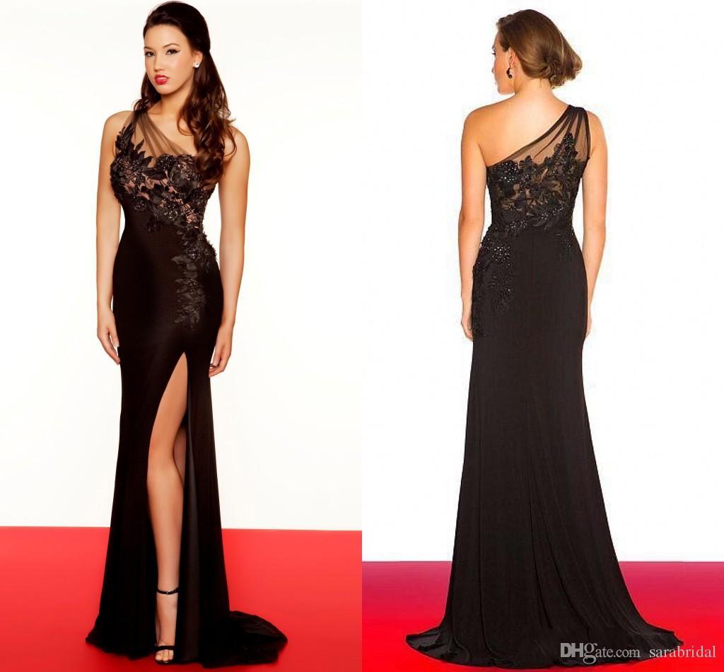 2014 Long Black Prom Dresses Sheer Lace One Shoulder Appliqued ...