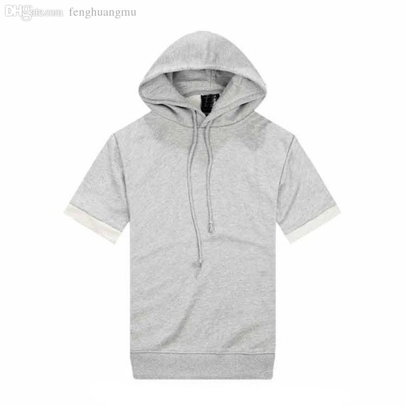 Wholesale-Solid Color Grey Solid Color Yeezy Short-sleeve Hoodie ...