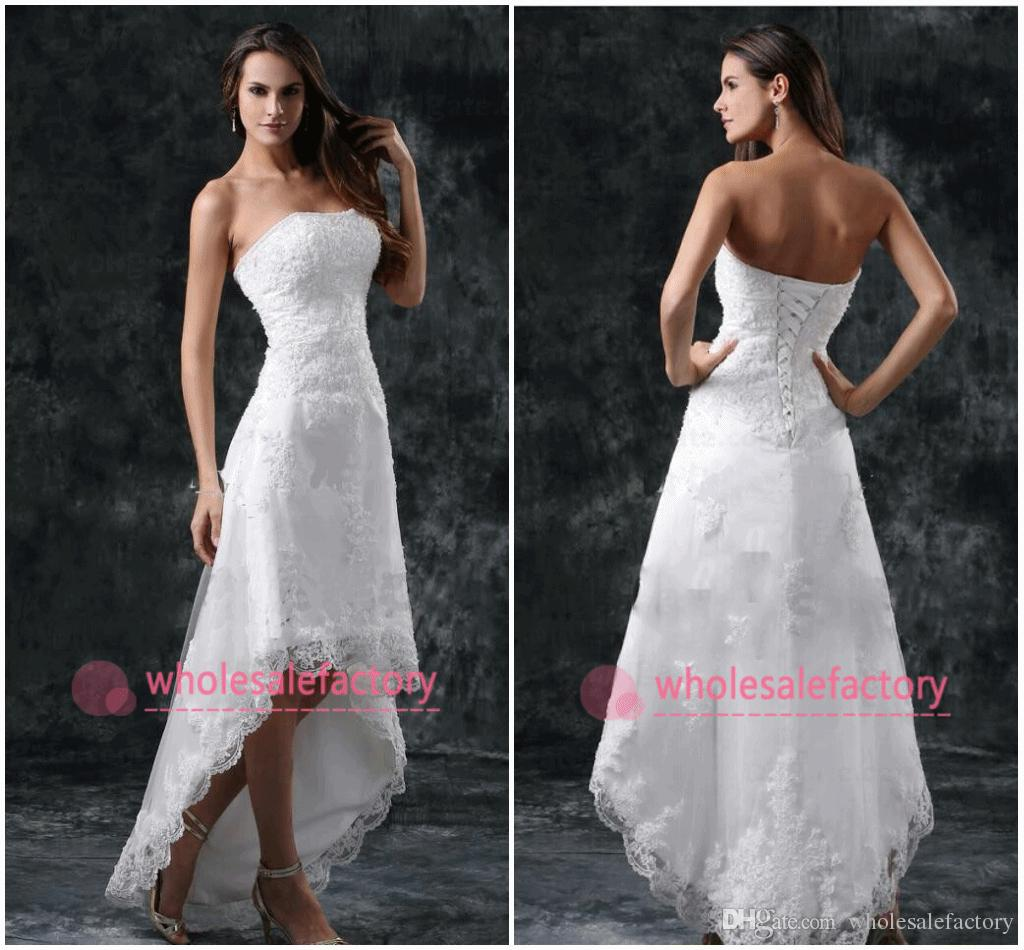 High low short summer beach wedding dresses 2017 strapless for Short white summer wedding dresses
