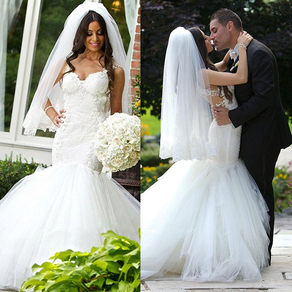Real photo mermaid wedding dress backless bottom tulle for Tulle bottom wedding dress