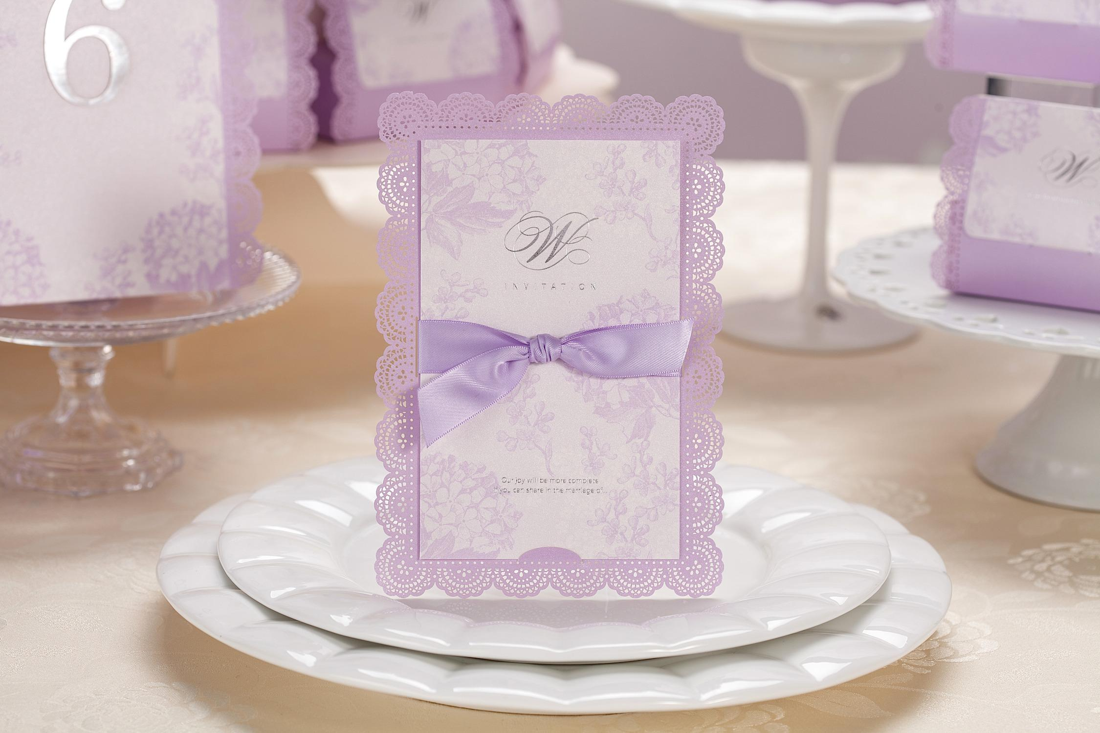 Personalized Purple Wedding Invitations Cards Ribbon Handmade – Embossed Invitation Cards