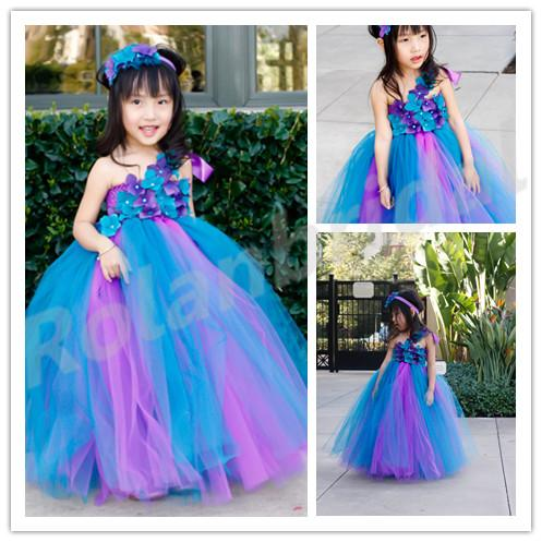 2015 New Flower Girl Dresses For Weddings One Shoulder Purple And ...