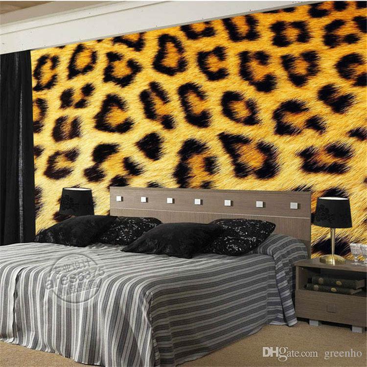Fashion leopard print wallpaper 3d photo wallpaper custom for Fur wallpaper room