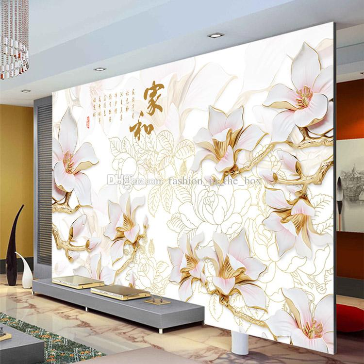 Elegant anaglyph orchids photo wallpaper custom 3d wall for Chinese wallpaper mural