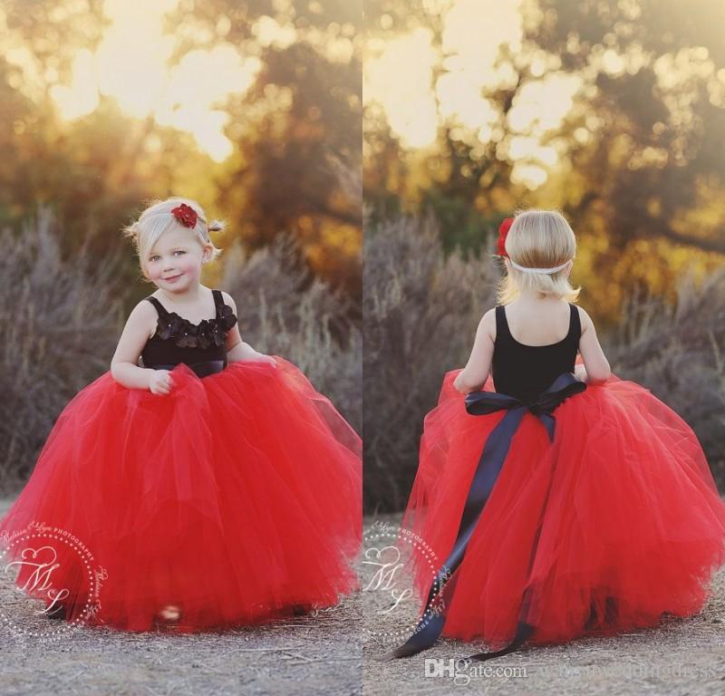 Black Red Flower Girls Dresses for Weddings 2015 Fall Tulle Floor ...