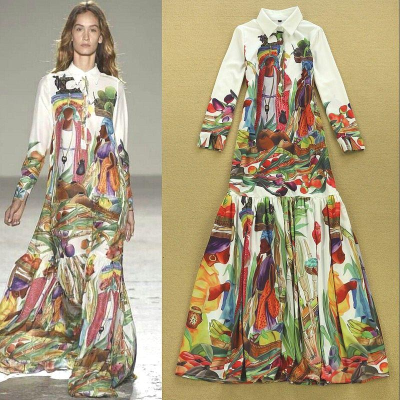 2015 New Summer Runway Fashion Designer Dress Women'S Long Sleeve ...