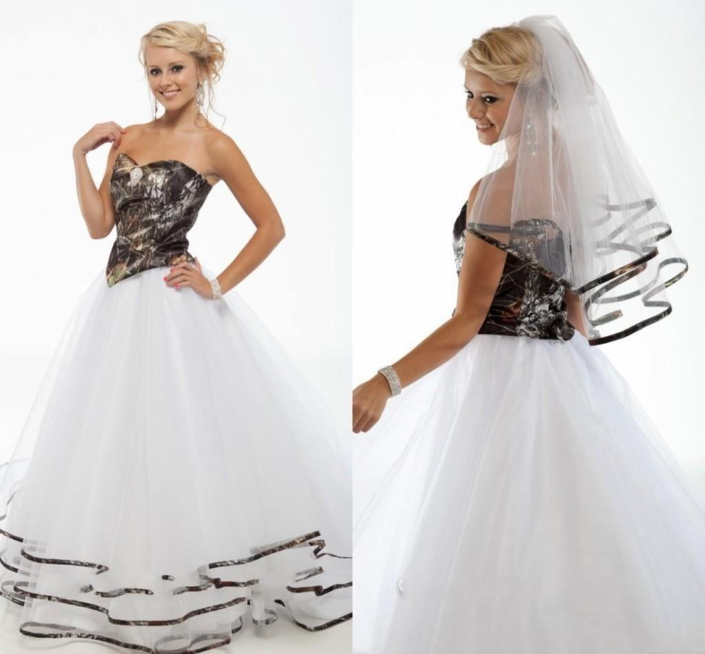 Discount 2015 New Camo Wedding Dresses Sweetheart Tulle