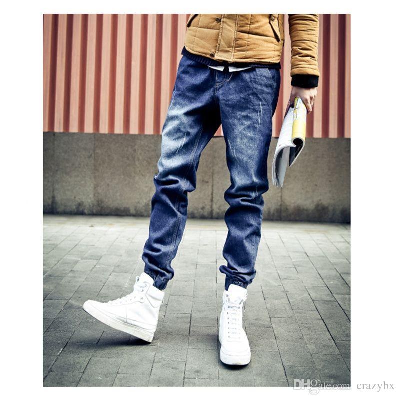 Mens Jogger Jeans New Fashion Drawstring Slim Fit Denim Men's ...