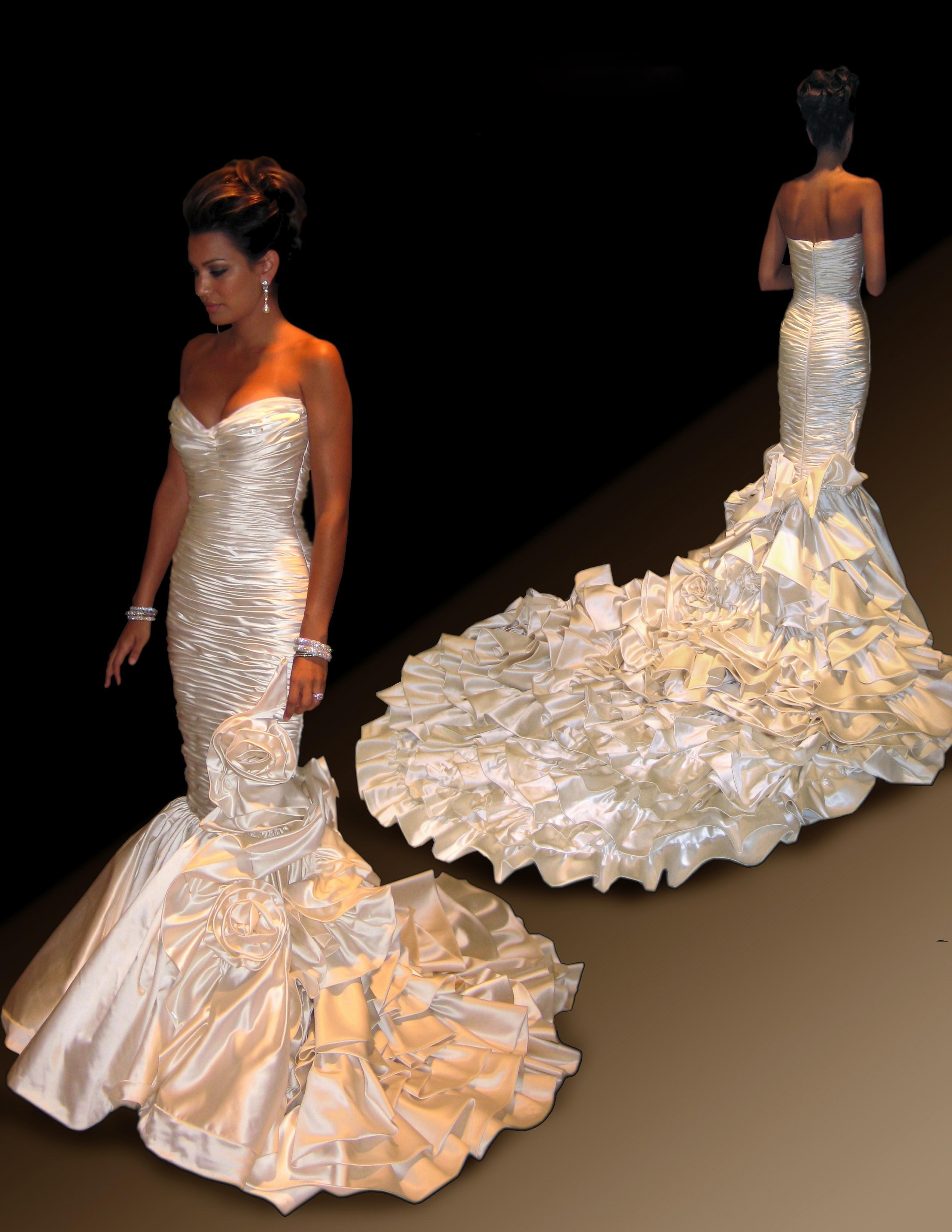 Satin Fishtail Wedding Dress : Fabulous mermaid fishtail satin wedding dresses real