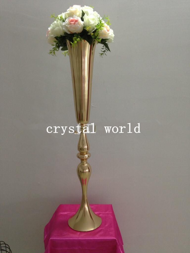 New gold iron flower vase candle candleholder