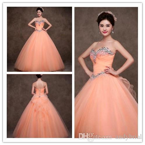 New Design Peach Organza Ball Gown Quinceanera Dresses 2015 ...