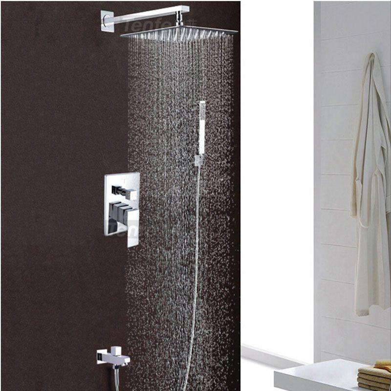 Wholesale And Retail Modern Rain Shower Faucet Set Chrome Brass Shower  Mixer Tap Tub Spout W/ Hand Shower 8 / 10 / 12/ 16 Rainfall Shower Online  With ...