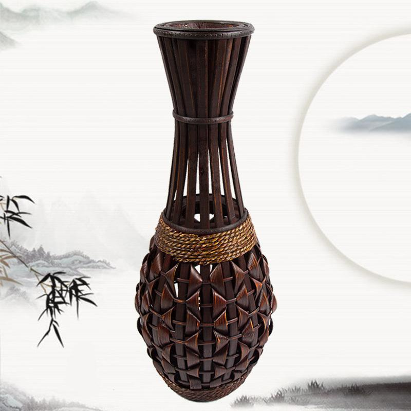 Fashion floor vase bamboo braid straw rattan vase handmade for Floor vase with flowers