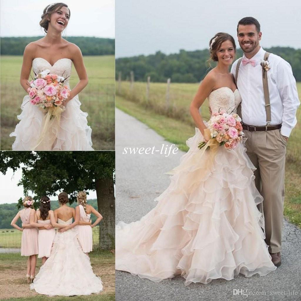 Blush pink country wedding dresses ruffle sweetheart for Spring lace wedding dress