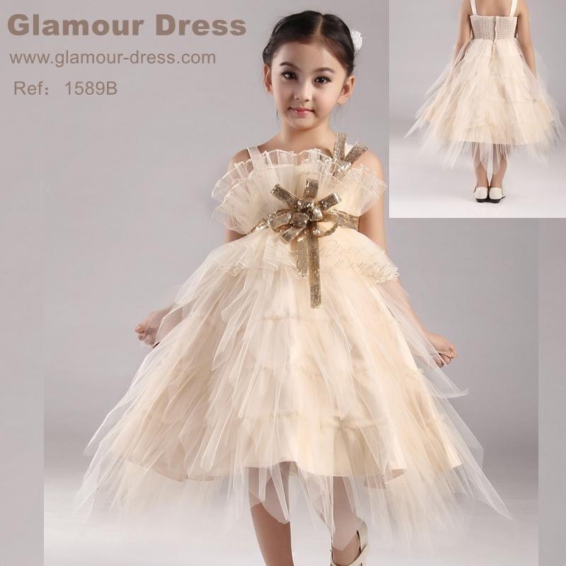 Hot Sales Tulle Champagne Flower Girl Dresses 2016 New Kids ...