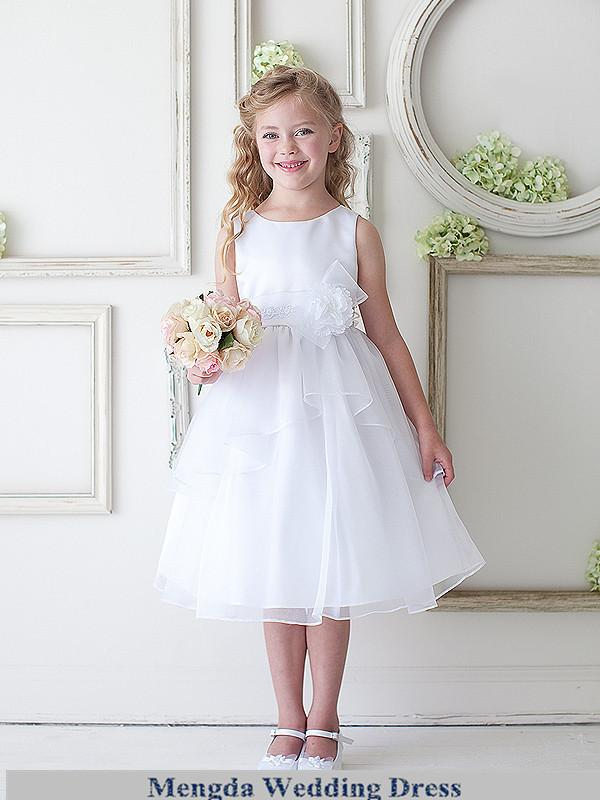 Cheap Simple Short White Flower Girl Dress Knee Length Kids ...
