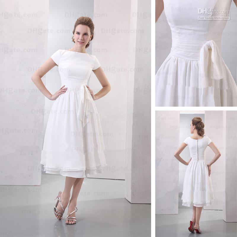 Discount tea length beach cheap wedding dresses bateau a for Cheap wedding dresses tea length