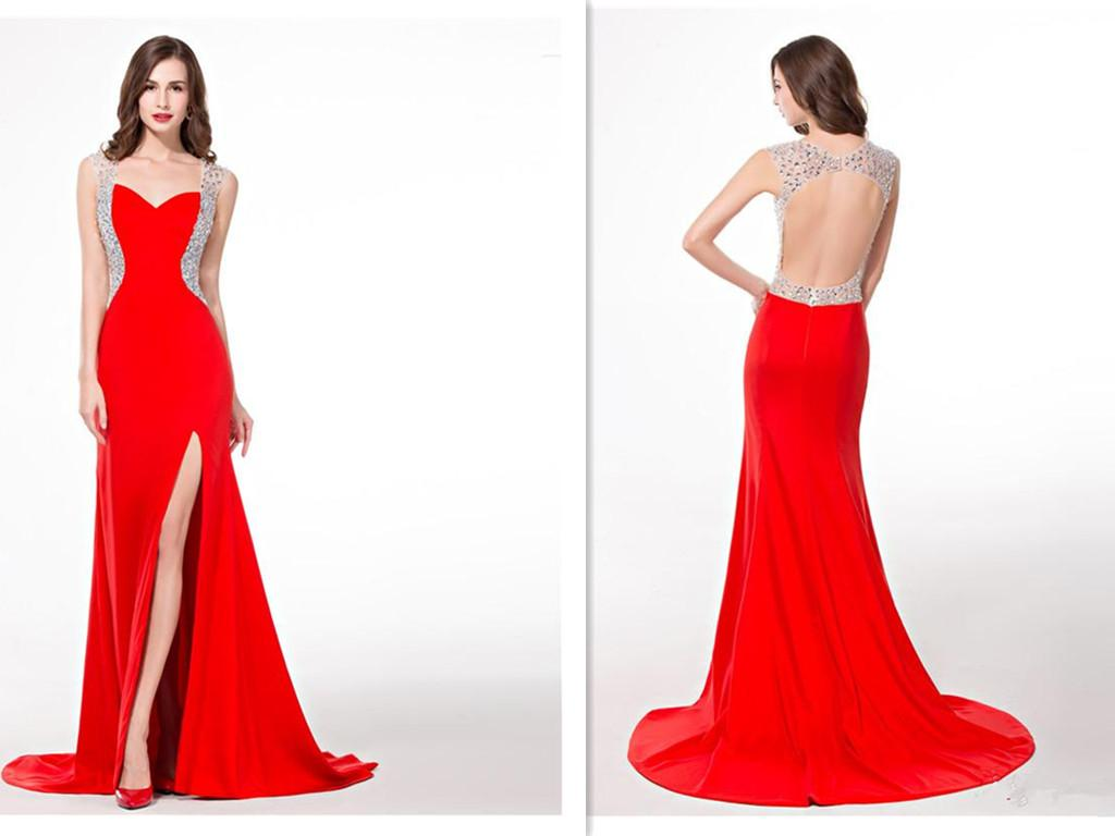 Long Red Spandex High Side Split Prom Dresses Floor Touching Big ...