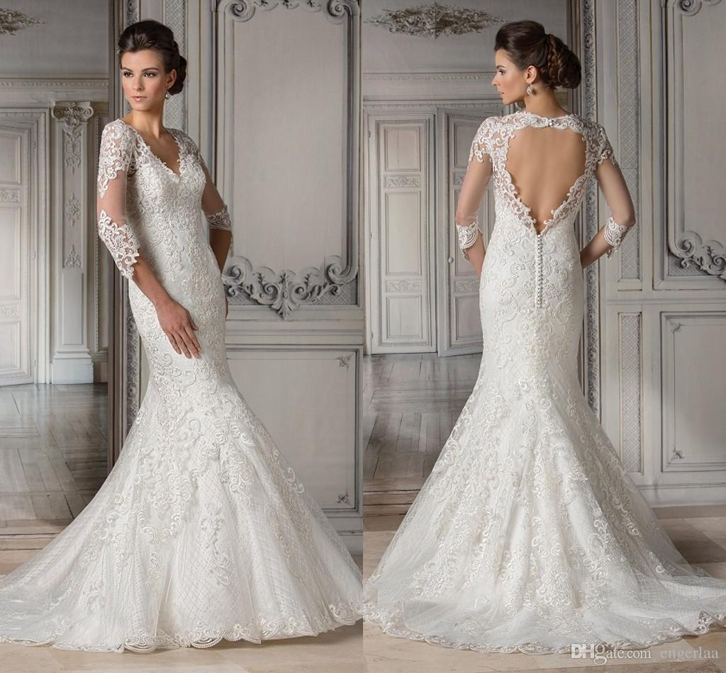 2015 Lace Modest Mermaid Wedding Dresses V Neckline With