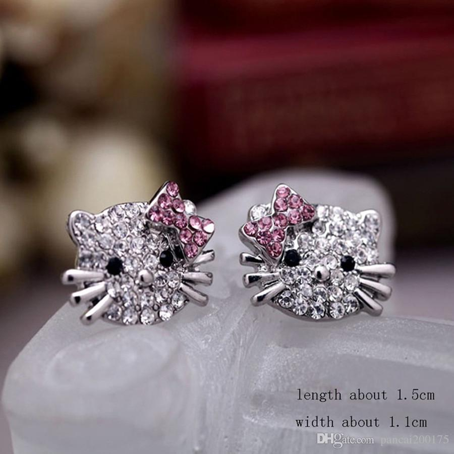 Bow-knot KT bijoux Crystal Cat Stud Earrings Brincos Cute Rhinestone Hello Kitty