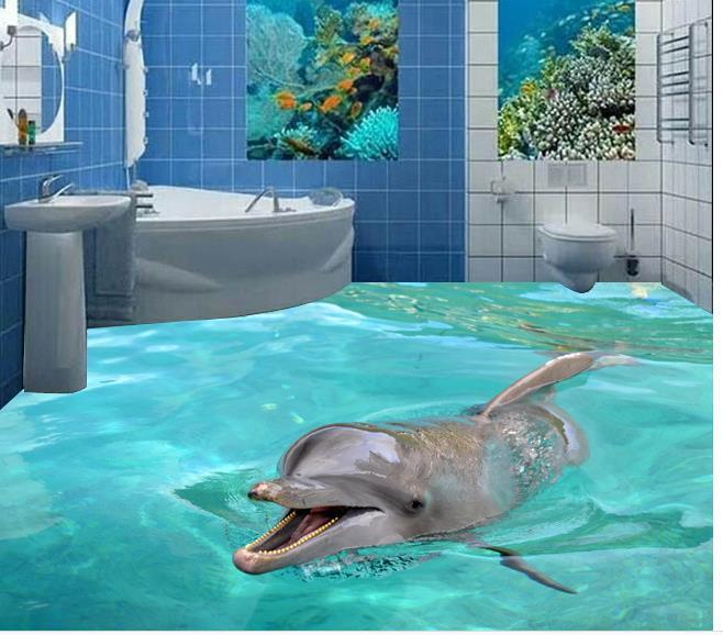 Custom photo floor wallpaper 3d stereoscopic 3d dolphins for 3d wallpaper for bathroom