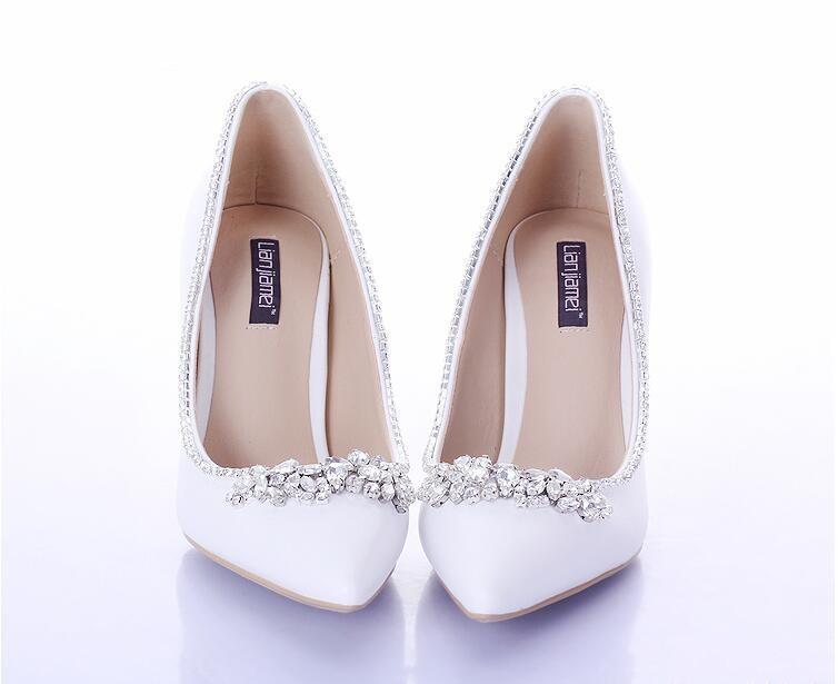 Discount Diamond White Satin Bridal Shoes | 2017 Diamond White ...
