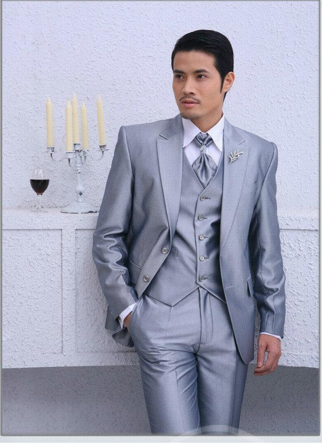 Handsome Silver Mens Wedding Suits Bridegroom Tuxedos Groomsmen ...