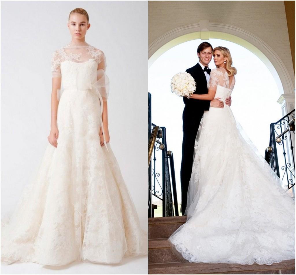 Ivanka trump celebrity wedding dress with sleeves high for Denim wedding dresses for sale