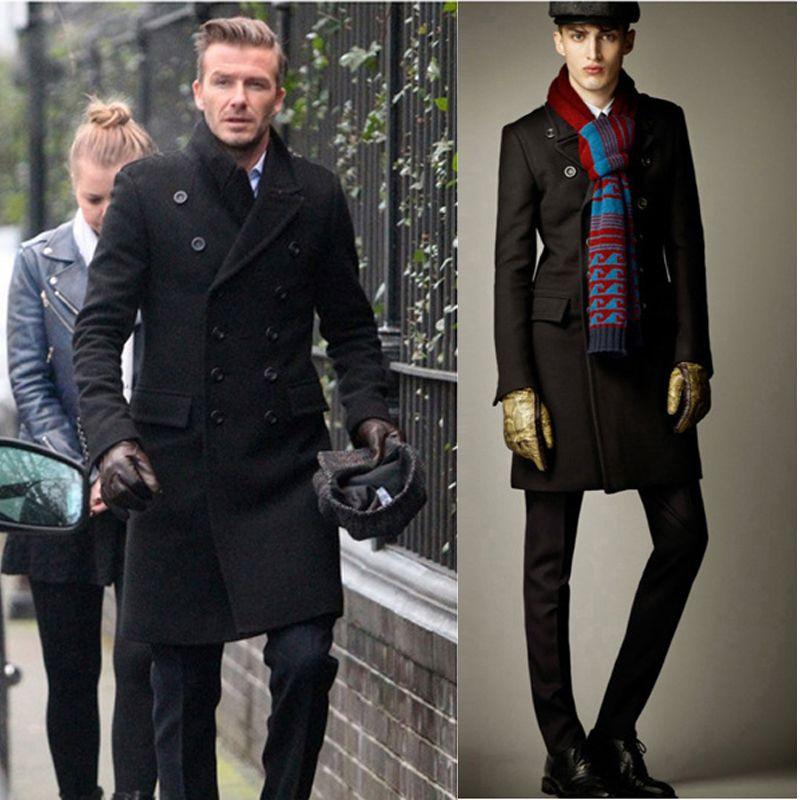 Casual Double Breasted Coat Men British Style Lapel Collar Slim ...