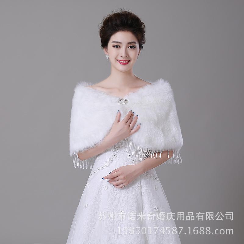 Online cheap winter bridal shawl wraps imitation rabbit for Winter shawls for wedding dresses