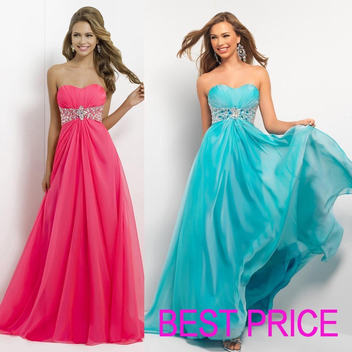 New Prom Dresses Sweetheart Chiffon Beads Red Yellow Blue