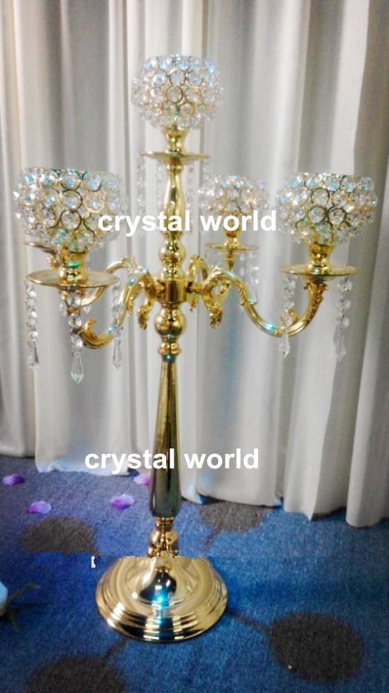 Hot tall elegant gold color wedding crystal candelabra