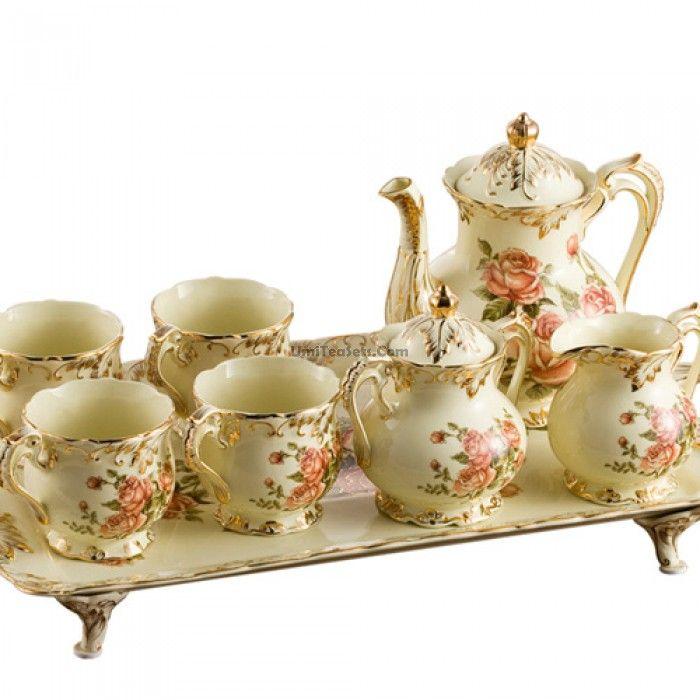 Vreme je za čaj...čajnik i šoljice od porculana i keramike! - Page 16 Upscale-8-pieces-rose-british-coffee-tea
