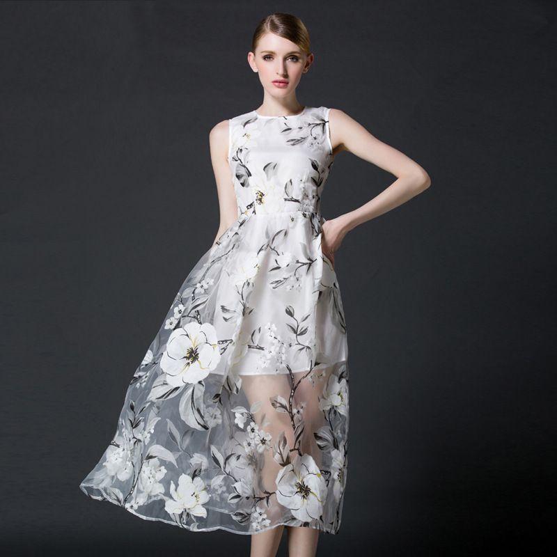 2016 Summer Women Dress Fashion Casual Organza Dress Elegant ...