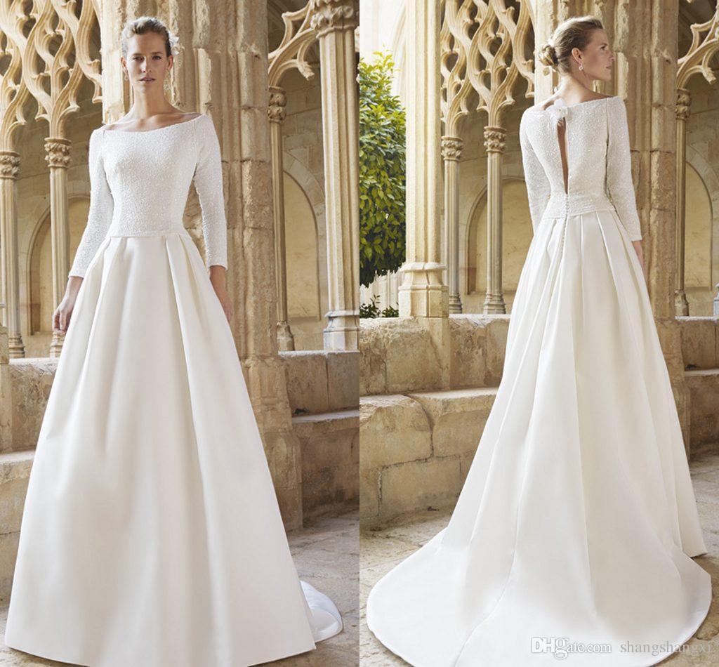 2015 raimon bund wedding gowns princess style bridal dresses a line bateau sequins crystals bodice hollow back long sleeves wedding dresses 2015 new