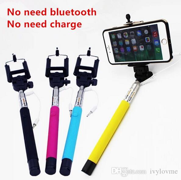 2017 best z07 5s extendable wired monopod selfie stick tripod handheld monopod cable take pole. Black Bedroom Furniture Sets. Home Design Ideas