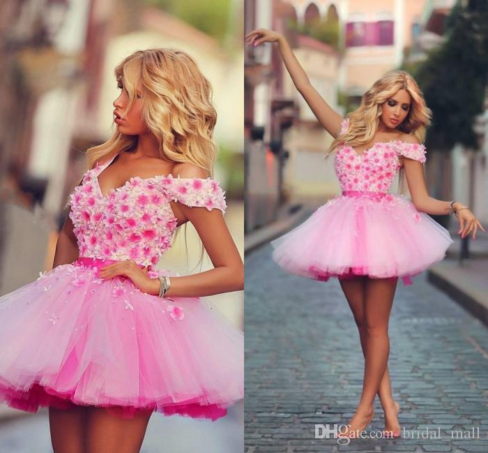 2015 Pink Short/Mini Cocktail Dresses Flowers Ball Gown Party ...