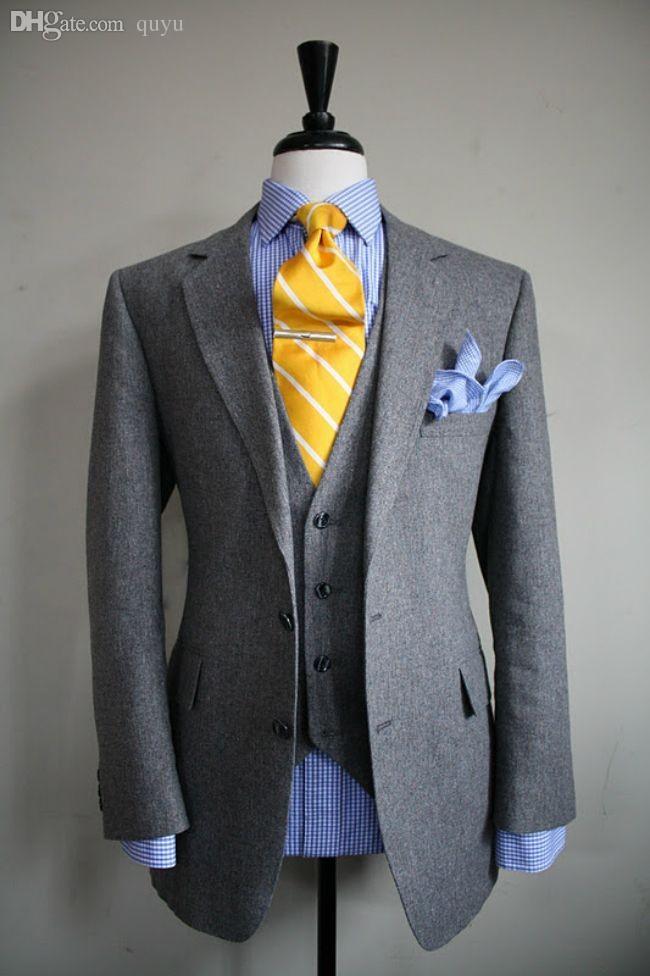 Wholesale-Luxury Italian Suit Brands Gray Business Suit Set Men ...