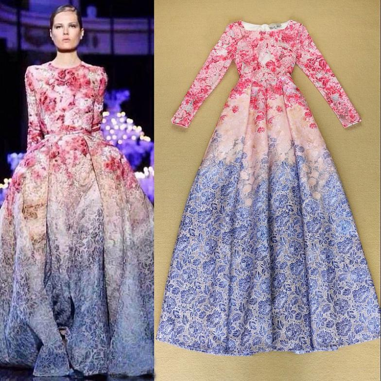 Europe Fashion Women'S Long Dress Floral Printed Long ...
