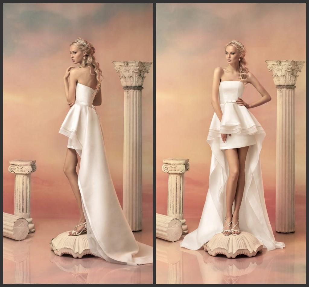 2015 Sheer Beach Wedding Dresses Strapless Zipper A Line