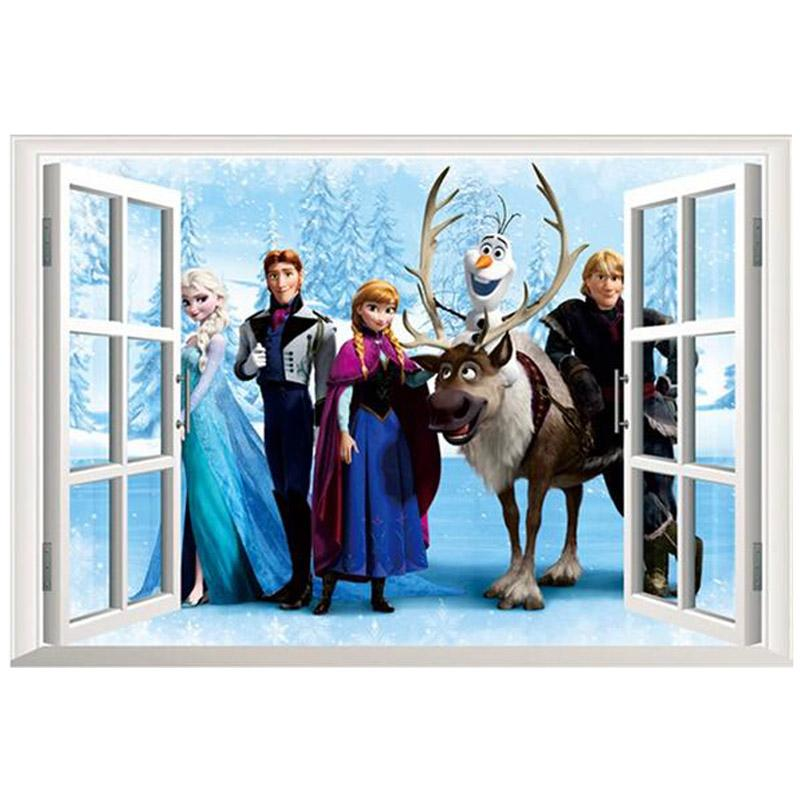 45*60cm character window wall stickers home decor removeable 3d wall stickers home decor elsa stickers Movie Wall Stickers open the window