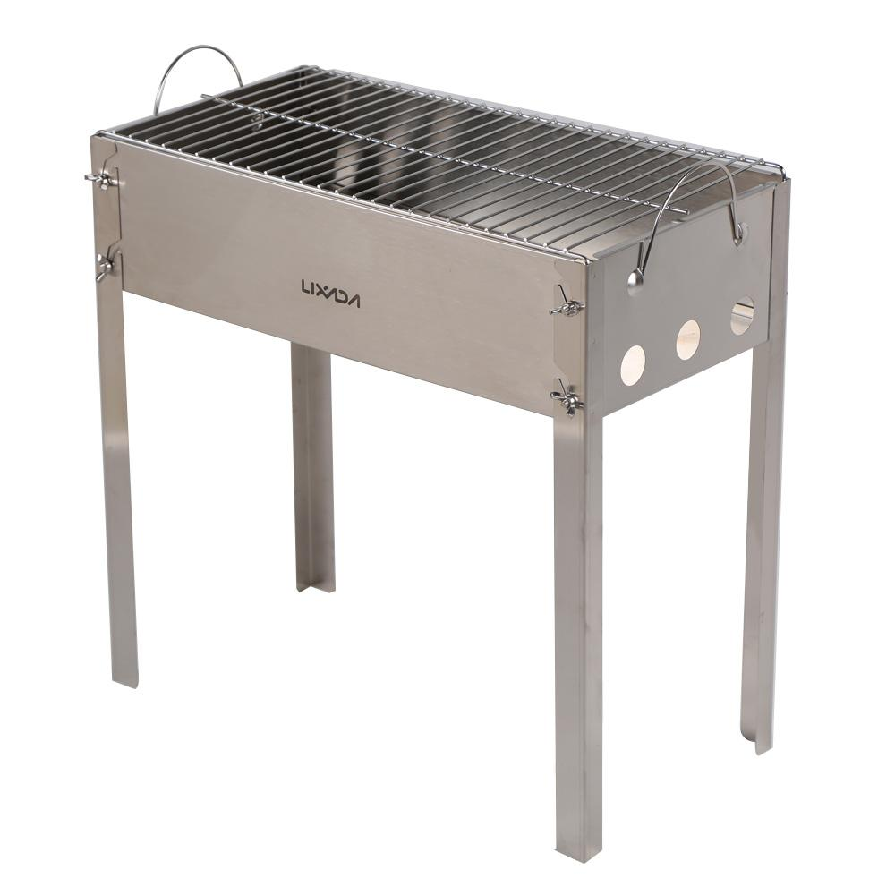 LIXADA Outdoor Picnic Camping Barbecue Grill Stainless Steel Portable  Folding Charcoal BBQ Grill Set High Quality Charcoal Fil China Set Diving  Supplier ...