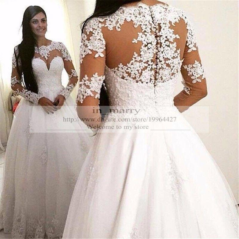 Romantic spanish arabic muslim wedding dresses plus size for Spanish lace wedding dress
