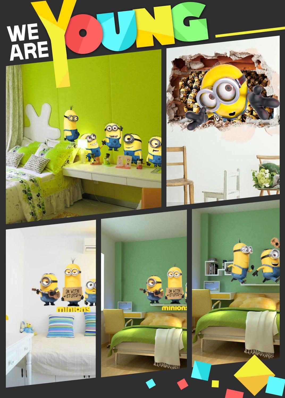 Minions Bedroom Wallpaper Wall Art Minion Decal Sticker 3d Cartoon Wall Stickers Multi Piece