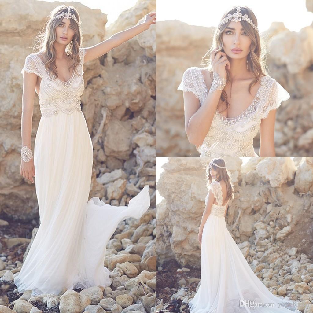 Discount Boho Wedding Dresses Beaded 2017 Court Train Deep V Neck Beading Short Sleeve Vestio De