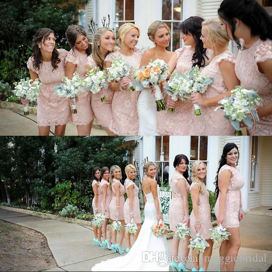 Elegant Pink Lace Bridesmaid Gowns Short Mini Open Back Ivory ...