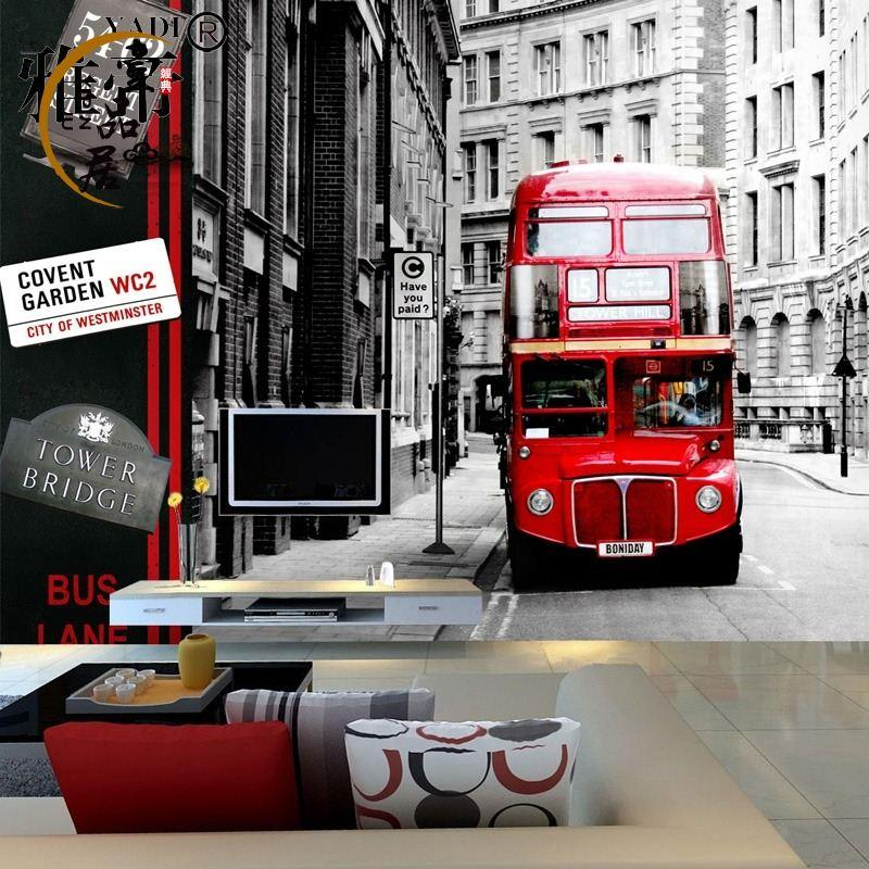European british double decker bus photo wallpaper murals city ...