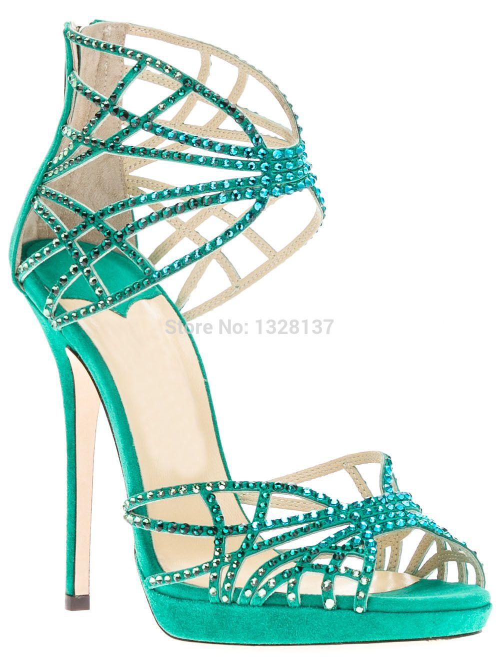 Blue Satin High Heels